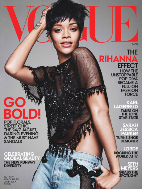 Kráska Rihanna na obálke marcového vydania magazínu Vogue 1