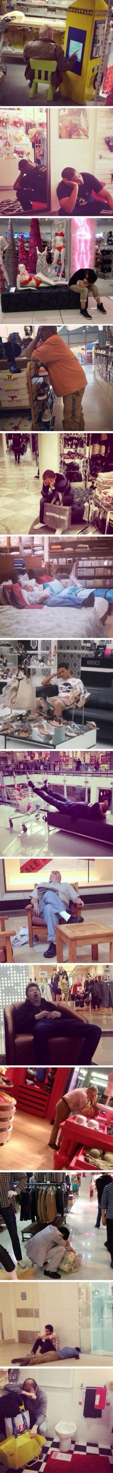 Muži čakajúci na svoje ženy na nákupe 1