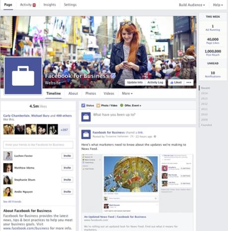 Najnovšia verzia vzhľadu Facebook stránok