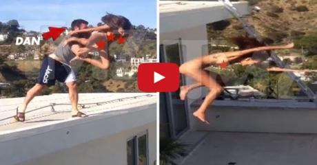 Dan Bilzerian zhodil pornohviezdu zo strechy (zdroj: YouTube)